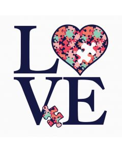 Love, Heart, Autism Awareness, Puzzle, Sublimation