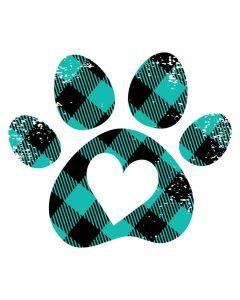 Dog Paw Heart, Plaid, Animal, Sublimation