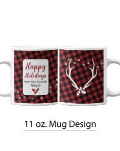 Holiday, Buffalo Print, Reindeer, 11 oz Mug Template