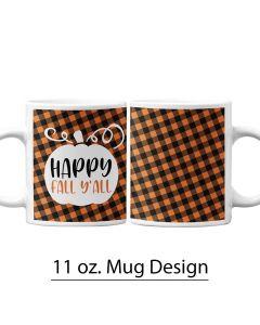 Pumpkin, Buffalo Print, Fall, 11 oz. Pre-Designed Mug