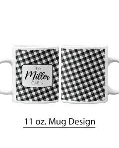 11 oz. Pre-Designed Mug Template, Personalized Mug, Christmas Design, Holiday Mug, Fall Mug, Autumn Design, Buffalo Print, Black and White, Black and White checkered