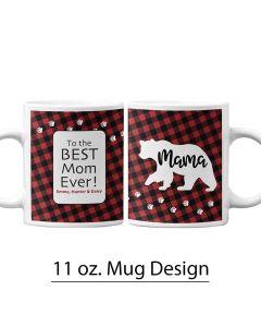 Mama Bear, Paw Prints, 11 oz. Pre-Designed Mug Template, Buffalo Plaid, Personalized Mug Design, Mother's Day, Boy Mom, Girl Mom