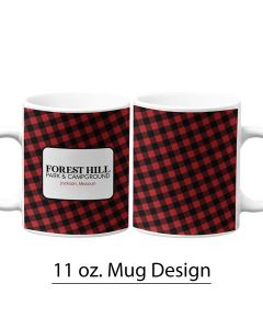 Red and Black Buffalo Print, 11 oz. Mug Template