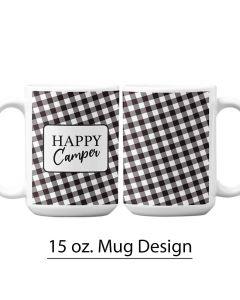 Pre-Designed 15 oz. Mug Template, Buffalo Print, Black and White, Checkered Print, Personalized Mug, Sublimation Mug, Sublimation Mug Design, Fall Design, Holiday Design