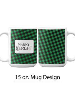 Green and Black Buffalo Print 15 oz. Tumbler, Christmas Mug Design, Holiday Personalized Mug Design, Checkered St. Patrick's Day Designs