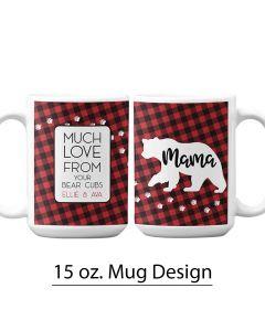 Mama Bear, Pre-Designed 15 oz. Mug Template, Buffalo Plaid, Bear print, Personalized Mug Design, Mother's Day