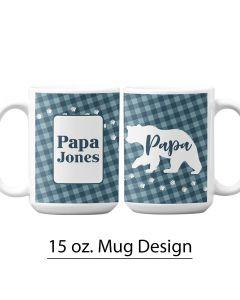 Buffalo Plaid, Papa Bear, 15 oz. Pre-Designed Mug Template