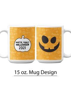 Jack O' Lantern, Halloween, 15 oz. Mug Template