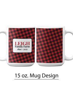 Buffalo Print, Red and Black, 15 oz. Mug Template