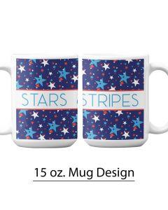 Patriotic Stars, 15 oz. Pre-Designed Mug Template