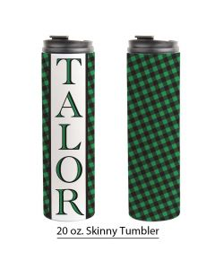 Green Holiday Buffalo Print, Personalized 20 oz. Skinny Tumbler, Checkered Green Christmas Pre-Designed Template,  St. Patrick's Day Tumbler Design, Sublimation Design, Holiday Sublimation Pre-Designed Template