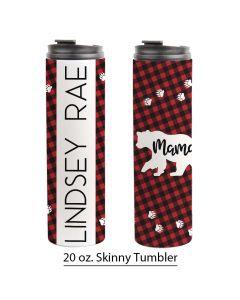 Mama Bear, Buffalo Plaid, Bear Print, Mom Design, 20 oz. Skinny Tumbler template, Personalized Tumbler, Mother's Day