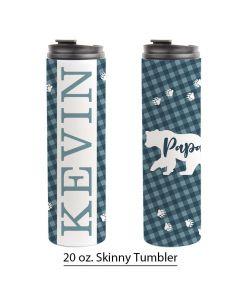 Papa Bear, Buffalo Print, 20 oz. Skinny Tumbler Pre-Designed