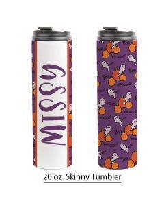 Pumpkin Ghosts Purple, 20 oz. Skinny Pre-made Template