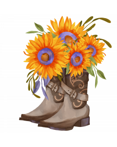 Boots and Sunflowers Watercolor Sublimation, Summer PNG