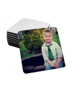 """White Sublimation Fabric Top Coasters - 4"""" x 4"""" - 1/4"""" Thick - Black Rubber Back - 10/pack"""