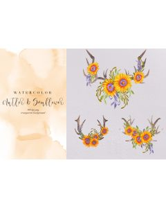 3 Watercolor Antlers & Sunflowers Sublimation, Summer