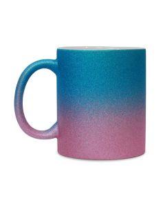 Pink to Blue Ceramic Glitter Sublimation Mug - 11oz.