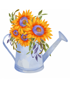 Watercan and Sunflowers Watercolor Sublimation, Gardening
