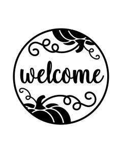 Welcome Pumpkin Round Sign for Home, Farmhouse - Fall SVG