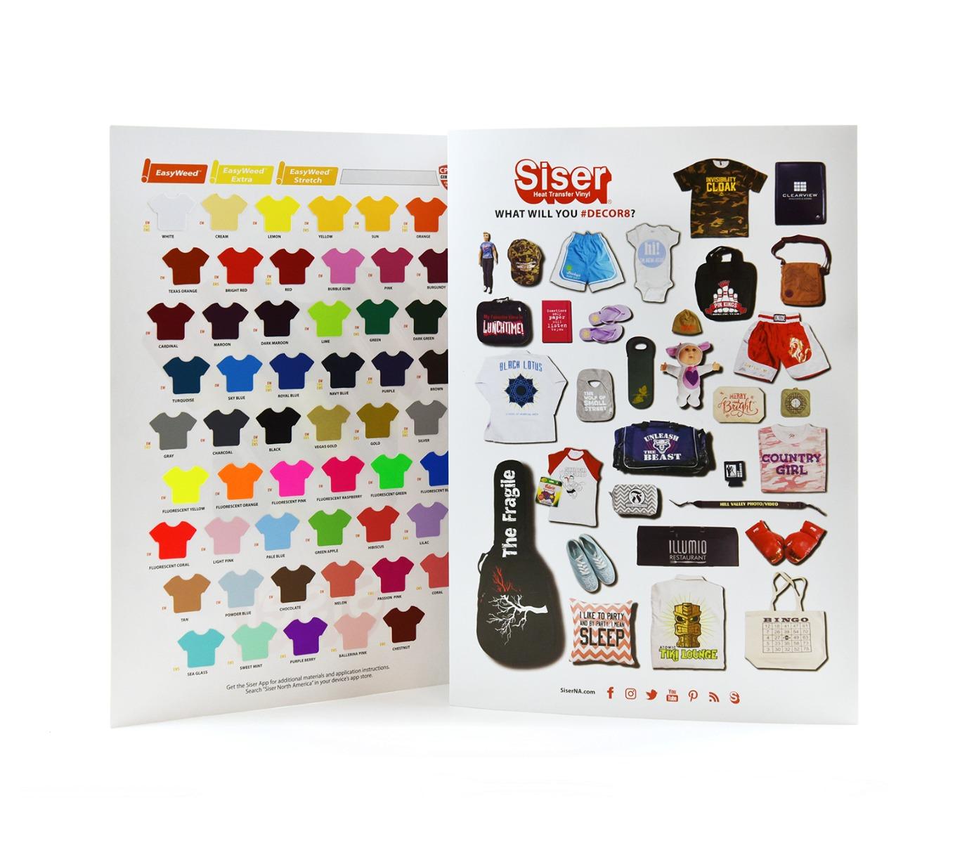 Siser Heat Transfer Vinyl Color Swatch Chart Color