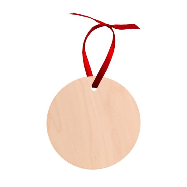 Round Natural Wood Holiday Ornament