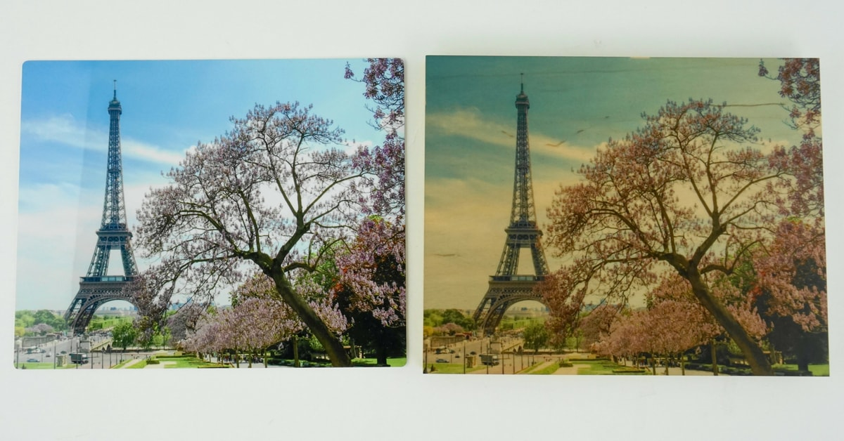 Eiffel Tower on ChromaLuxe Gloss White Metal and Natural Wood Panels | Coastal Business Supplies