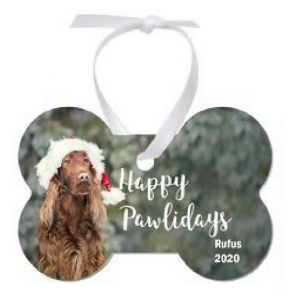 Two-Sided Dog Bone Holiday Ornament