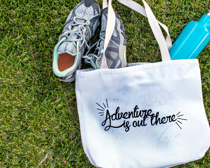tote bag adventure is out there coastal business supplies tennis shoes water bottle canvas grass