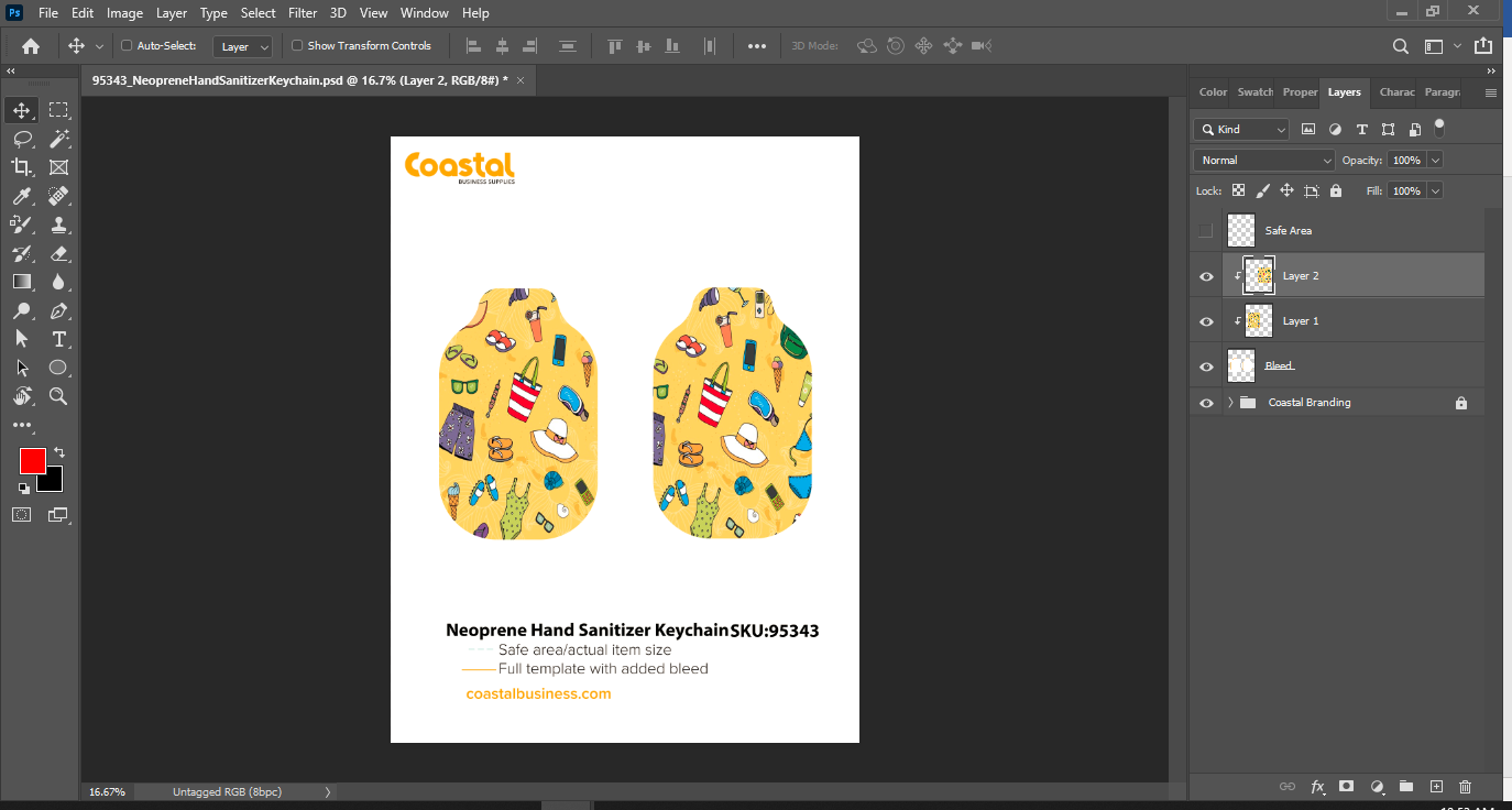 Sublimation Template with Clipping Mask Applied