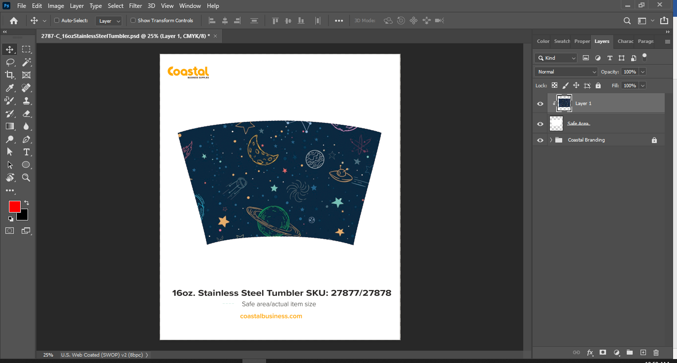 Sublimation Template with Clipping Mask Applied for Curved Item