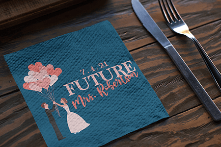Bridal Shower Napkins Made with Heat Transfer Paper