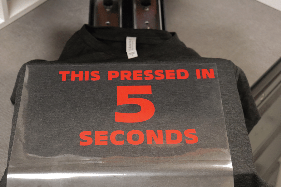 T-Shirt Being Pressed with XPress Cut HTV